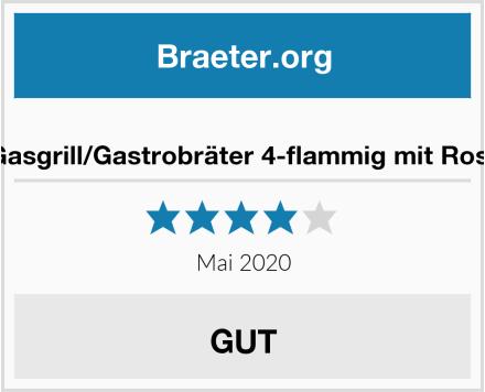 Gasgrill/Gastrobräter 4-flammig mit Rost Test